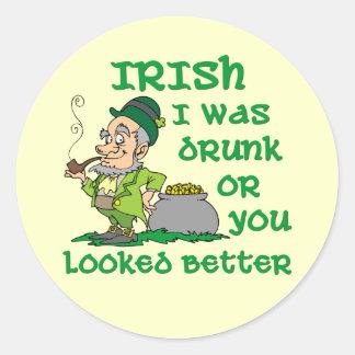 Irish I was Drunk Round Sticker