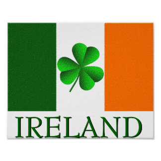Irish Ireland Shamrock Flag Colors Poster