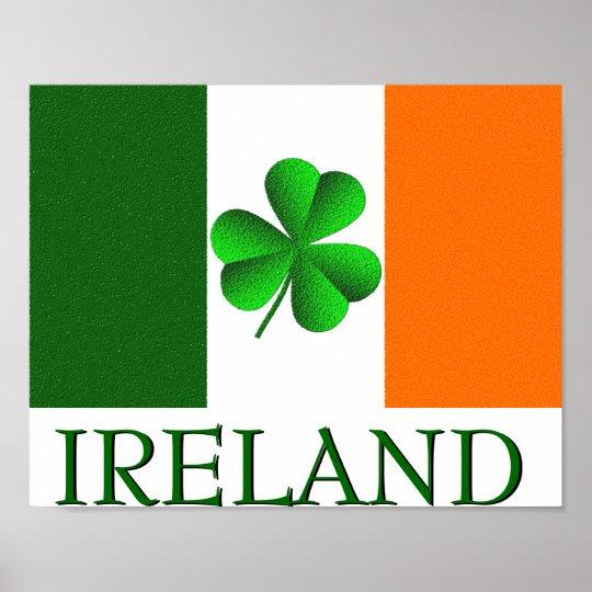 Irish Ireland Shamrock Flag Colours Poster