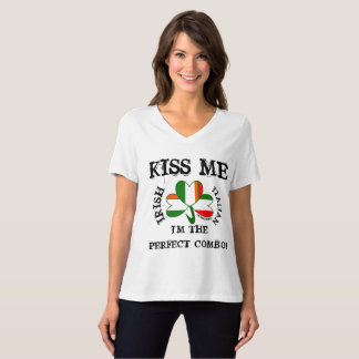 IRISH ITALIAN flag SHIRT VNECK KISS ME! multi flag