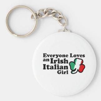 Irish Italian Girl Basic Round Button Key Ring