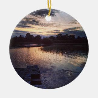 Irish lake christmas ornament