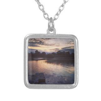 Irish lake square pendant necklace