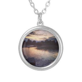 Irish lake round pendant necklace