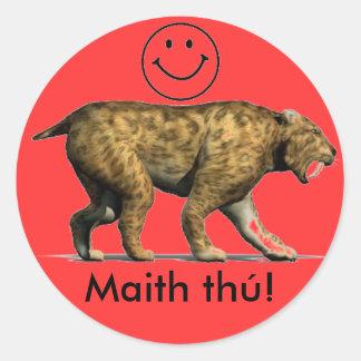 Irish language reward sticker Sabre tooth cat