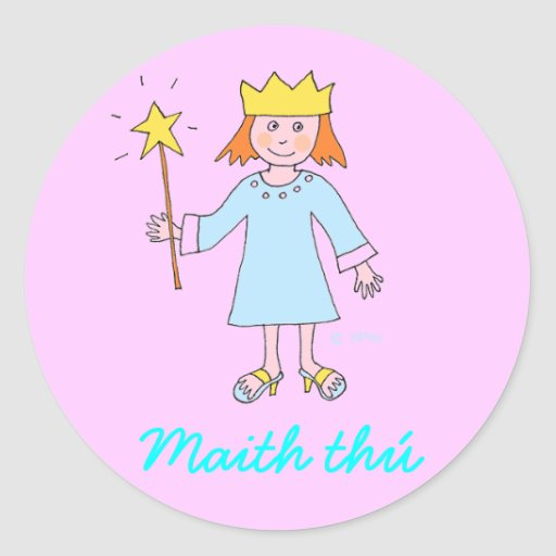 Irish language Well Done Princess Reward sticker