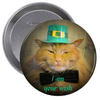 Irish Leprechaun Cat Wish 10 Cm Round Badge