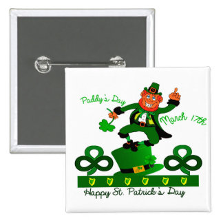Irish Leprechaun image for 2 Inch Square Button