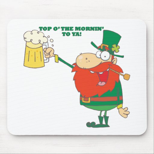 Irish Leprechaun Man with Beer Mouse Pads