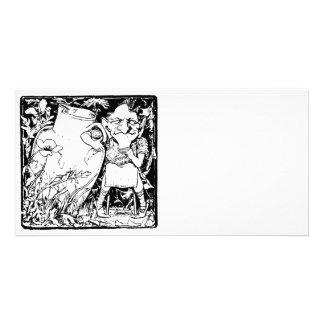 Irish Leprechaun Silhouette (Black) Picture Card