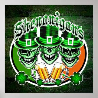 Irish Leprechaun Skulls: Shenanigans Poster