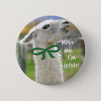 Irish Llama-Kiss Me I'm Irish St. Patrick's Button