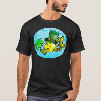 IRISH LUCK GOLDFISH wearing hat and shamrocks cute T-Shirt