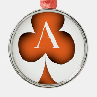 Irish 'Lucky' Ace of Clubs by Tony Fernandes Silver-Colored Round Decoration