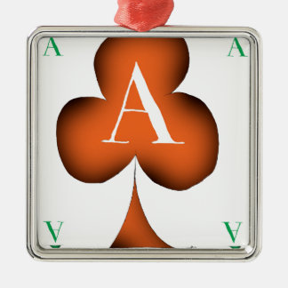 Irish 'Lucky' Ace of Clubs by Tony Fernandes Silver-Colored Square Decoration
