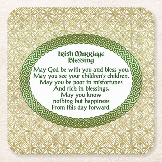 Irish Marriage Blessing, Gold & Green Wedding Square