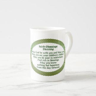Irish Marriage Blessing, Gold & Green Wedding Tea Cup