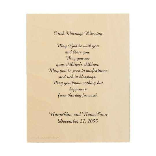 Irish Marriage Blessing Personalised Wood Wall Art