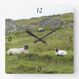 Irish mural clock of sheep