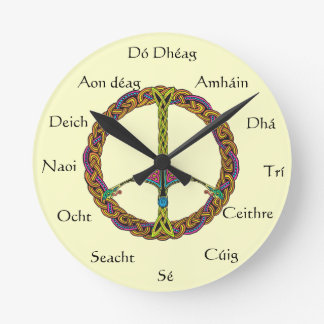 Irish Numbered Clock with Peace SIgn