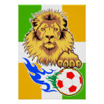 Irish or Côte d'Ivoire Soccer Lion Poster