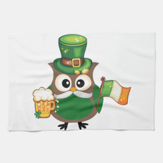 Irish Owl for St. Patrick's Day Tea Towel