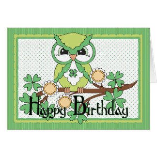 Irish Owl Happy Birthday Greeting Card