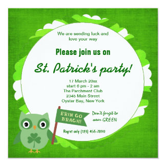 "Irish Owl 5.25"" Square Invitation Card"