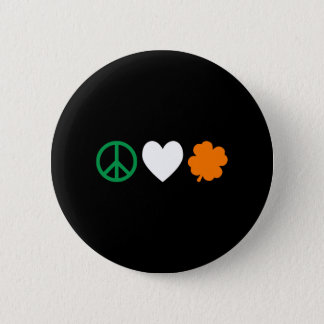 Irish Peace Love & Shamrocks 6 Cm Round Badge