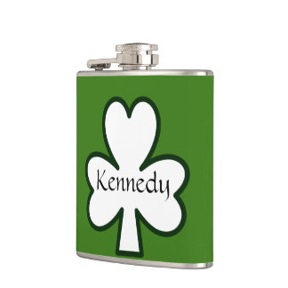 IRISH PERSONALIZED SHAMROCK ST PATRICKS DAY FLASK