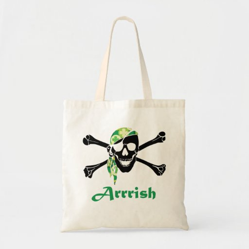 Irish Pirate Skull And Crossbones Canvas Bag