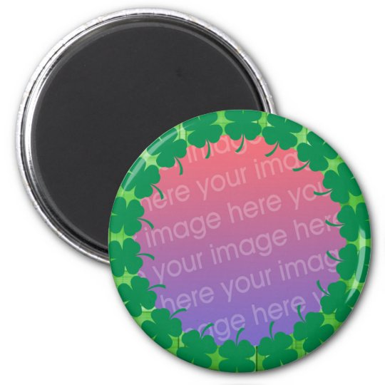 irish plaid 4 leaf clover photo frame 6 cm round magnet