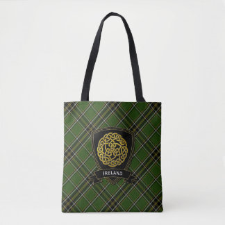 Irish Plaid Celtic Symbol Tote Bag