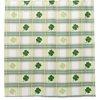 Irish Plaid Shamrock Shower Curtain