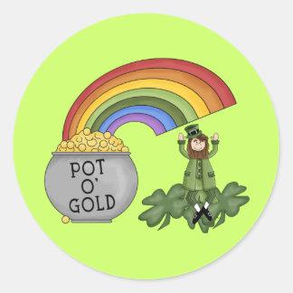 Irish Pot of Gold Round Stickers