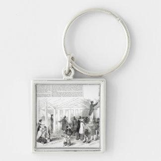 Irish Potato Famine, 1847 Silver-Colored Square Key Ring
