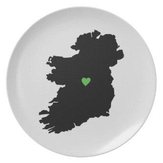 Irish Pride Heart Map of Ireland Plate