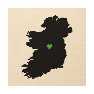 Irish Pride Heart Map of Ireland Wood Wall Decor