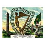 Irish Pride Ireland's Emblems golden harp clovers Postcards
