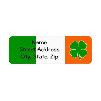 """Irish Pride"" Shamrock Flag Return Address Label"