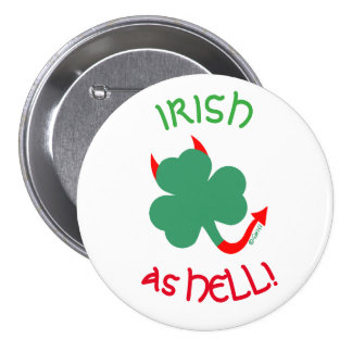 Irish Pride Shamrock with Red Devil Horns and Tail 7.5 Cm Round Badge