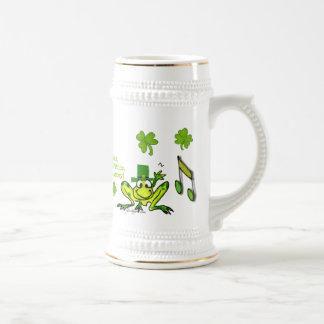 Irish Prince Cute Cartoon Frog Shamrock Stein Coffee Mugs