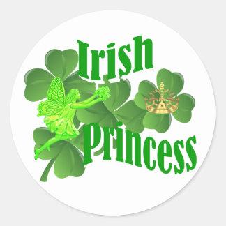 Irish princess and fairy round sticker