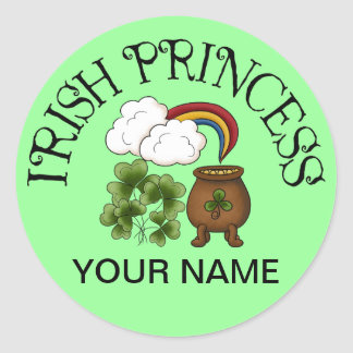 Irish Princess Shamrocks Pot Of Gold Stickers