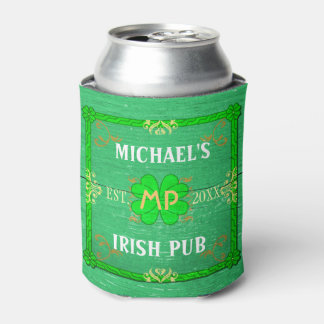 Irish Pub Custom Name Home Bar Green St Patrick's Can Cooler