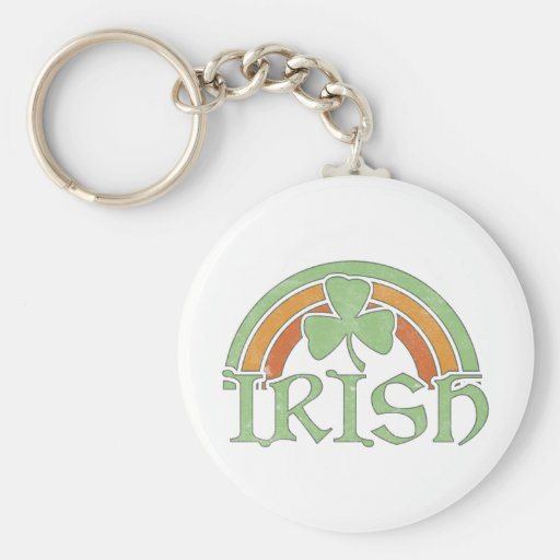 Irish Rainbow Basic Round Button Key Ring