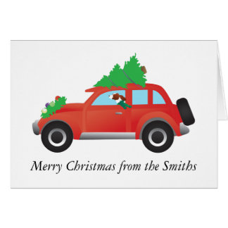 Irish Red and White Dog Driving a Christmas Car Card