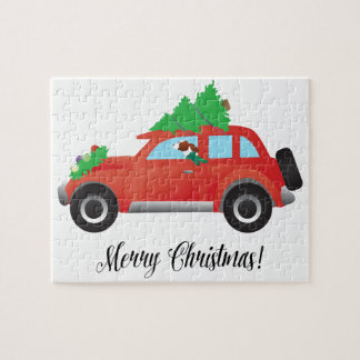 Irish Red and White Setter Driving Christmas Car Puzzle