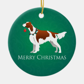 Irish Red and White Setter Merry Christmas Design Christmas Ornament