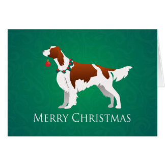 Irish Red and White Setter Merry Christmas Design Greeting Card